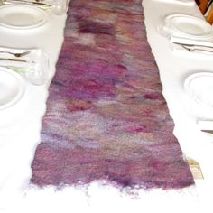Rustic Table Runner, Felt Table Runner in raspberry and soft purple