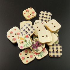18 Painted Wood Buttons Square Shaped Assortment 18mm by BohemianFindings on Etsy, $3.00