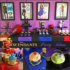 I love this for a little girl birthday/Halloween party! *Descendants Party - Party tips and ideas for a Disney Descendants watch party! Perfect for Halloween parties too! The Descendants, Descendants Characters, Party Fiesta, Party Party, Party Ideas, Party Plan, Villains Party, 6th Birthday Parties, 9th Birthday