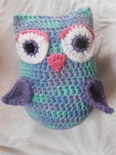 NEW  Owl Pillow in Purple Blue & Pink  Custom by SweetLullabiez, $14.99