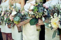 Natural bouquet, succulents, burlap
