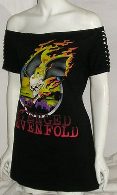Avenged Sevenfold Ax7 Off Shoulder Top Slashed Tshirt Tour DIY