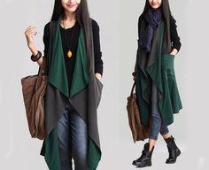 Women Gray/Green Vest Coat Long Stylish Dress Fall Clothing For Women(MM020)