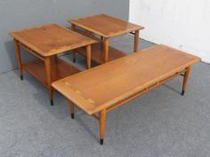 Vintage LANE ACCLAIM Mid Century COFFEE TABLE & Pair END TABLES Danish Eames