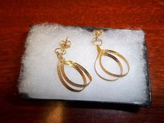 Two Loop Flat Chain 14K Gold Earrings by GiftShopVintage on Etsy, $79.35