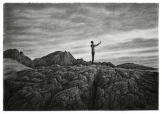 Moody Kids. Charcoal drawing 35x50cm. by Børge Bredenbekk