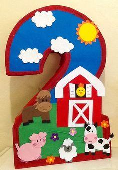 Number two ♥ Farm pinata. Second Birthday Ideas, Farm Birthday, 2nd Birthday Parties, Farm Themed Party, Barnyard Party, Farm Party Kids, Farm Animal Party, Farm Animal Birthday, Farm Animal Cupcakes