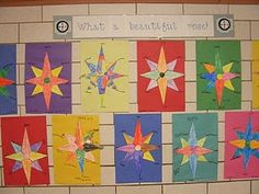 Second grade geography and geometry compass rose activity.