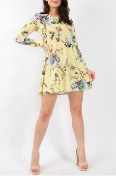 Floral Swing Dress Yellow