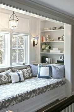 Incredibly cozy and inspiring window seat ideas cozy window seat with shelving. I can picture this ♥cozy window seat with shelving. I can picture this ♥ House Design, New Homes, Interior Design, House Interior, House, Home, Bedroom Design, Remodel Bedroom, Home Decor