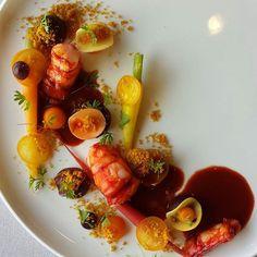 prawn , citrus fruit , carrots and turmeric  #guincho #cascais #relaischateaux #hotelfortalezadoguincho @miguelrochavieira