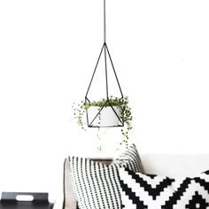 Himmeli Hanging Planter with Cup | Small Modern Plant Hanger | Geometric Terrarium | Minimalist Home Decor