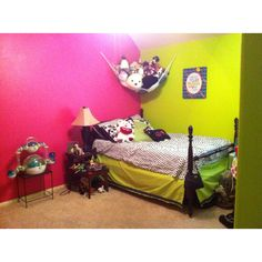 Pre-teen room, I made the bed skirt to match the walls