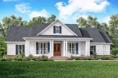 <div><ul><li>This classic 3 bed country farmhouse plan has large covered porches on the front and rear of the home.
