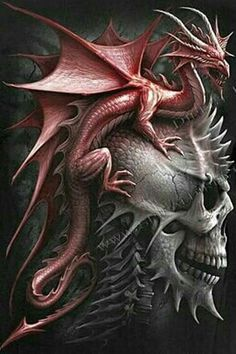 Red Dragon and Skull fantasy art Dragon Tattoo With Skull, Dragon Tattoo Designs, Dragon Tattoos, Mythological Creatures, Mythical Creatures, Fantasy Kunst, Fantasy Art, Digital Art Illustration, Infinity Tattoo Designs