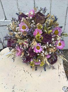 Grace Dried Flower Bouquet, wedding flowers, bridal posy, rustic wedding, bridesmaid, dried flowers, bride, pastel flowers, roses by BellaPoppyFlowers on Etsy