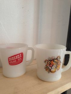 Vintage Milk Glass Coffee Mugs Exxon and by TheNeoNewYorker