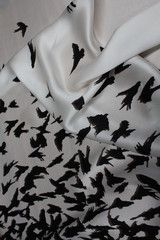 Hitchcock's Birds silk fabric