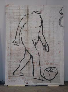 Azul, figura envía una cabeza - el trabajo de la pared