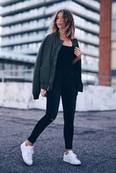 spring outfit, fall outfit, casual outfit, comfy outfit, sneakers outfit, athleisure, sporty outfit, fall trends 2016, spring trends 2016 - khaki bomber jacket, black tank top, black skinny jeans, white sneakers, white adidas sneakers