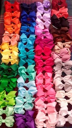 Rainbow of colours! our grosgrain hairbow clips. just gorgeous!!