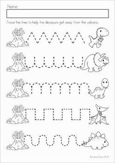 Dinosaur Preschool Math and Literacy No Prep worksheets and activities. A page from the unit: pre-writing tracing practice. Dinosaur Preschool Math and Literacy No Prep worksheets and activities. A page from the unit: pre-writing tracing practice. Dinosaur Worksheets, Dinosaur Theme Preschool, Dinosaur Activities, Preschool Writing, Preschool Lessons, Preschool Classroom, Preschool Learning, Preschool Crafts, Baby Activities