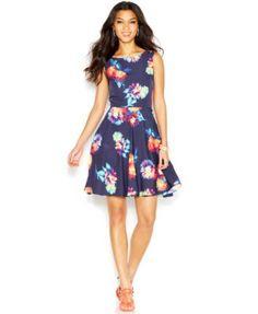 Betsey Johnson Sleeveless Floral-Print Dress   macys.com