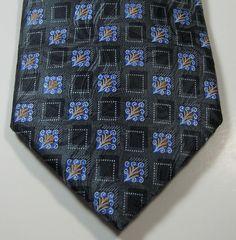 "ERMENGENLIDO ZEGNA Rich Black Silver Blue FlowersLong 62"" 100% Silk  Tie  RARE  #ErmenegildoZegna #NeckTie"