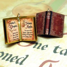 Wicked Queen's Spell Book from Snow White - Miniature Book Charm Quote Pendant- for charm bracelet or necklace. Custom available! by VintageCharmedBooks on Etsy https://www.etsy.com/listing/470864118/wicked-queens-spell-book-from-snow-white