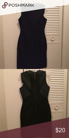 W118 by Walter Baker black dress Size small has leather look to it around trim in back with zipper detail Dresses