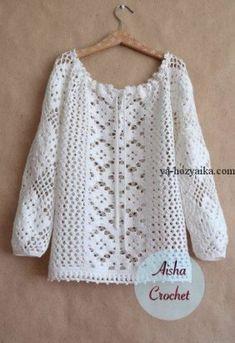 """Aisha Crochet"" вязаный стиль ""Crochet design by Aisha Crochet"", ""Crochet feminine and beautiful lace blouse. Free patterns for crochet blouse"" Black Crochet Dress, Crochet Cardigan, Crochet Lace, Crochet Shirt, Blouse Pattern Free, Top Pattern, Blouse Patterns, Crochet Designs, Crochet Patterns"