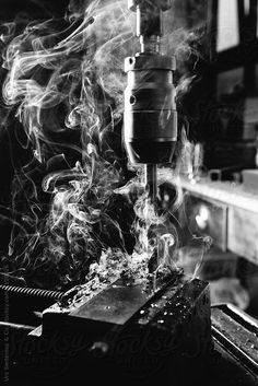 Black and white image of drilling iron by Urs Siedentop & Co