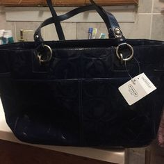 Coach purse It's brand new!!! Great teal color!!! Purse is patent leather with c's. Coach Bags Shoulder Bags