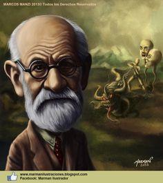 Caricatura de Sigmund Freud