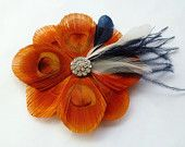 Orange & navy with rhinestone center...