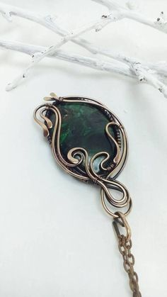 Malachite necklace Wire wrapped jewelry Green large stone
