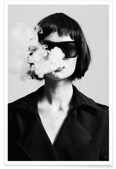 Black White, Black And White Posters, White Art, Women Smoking, Girl Smoking, Rauch Fotografie, Gold Poster, Smoke Signals, Black And White