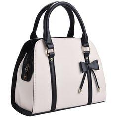 Coofit Lady Handbag Little Bow Leisure Shoulder Bag Purse (170 DKK) ❤ liked on Polyvore featuring bags, handbags, shoulder bags, pink bow purse, top handle bags, pink handbags, handbag purse and top handle handbags