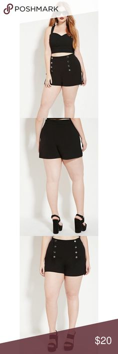 ⚡️FLASH SALE⚡️F21+ Curvy Sailor Shorts These are so cute, just not for me! These sailor shorts are soft and easy to wear. Stretchy knit fabric. The front part has snap closures. Size 16. Forever 21 Shorts