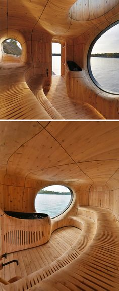 Grotto Sauna Freestanding Residential Sauna by PARTISANS (Photo by Jonathan Friedman)  http://www.wallpaper.com/architecture/partisans-lakeside-grotto-takes-the-edge-off-traditional-sauna-design/8203#109206
