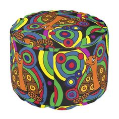 Fun Turtle Abstract Art Pouf Seat #turtles #abstract #pouf #seat #funny #animals And www.zazzle.com/inspirationrocks*