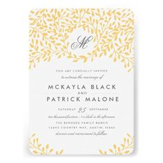 Modern Stylish Personalized Mustard Yellow and Charcoal Gray on White Wedding Invite Invitations Templates / #WeddingCollections