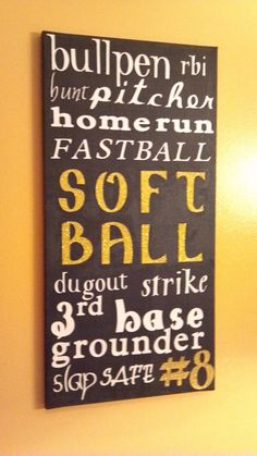 Bullpen, RBI, BUNT! homerun fastpitch, softball, dugout, strike, 3rd base grounder slap safe #8   **Not mine but I would love to have one