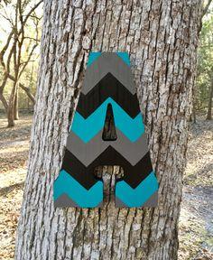 """13"""" Custom Hand-cut Wood Letter, Chevron Letter, Hand Painted Wooden Letter, Hanging Wood Letter by ChicDesignsByTiffany on Etsy https://www.etsy.com/listing/502117704/13-custom-hand-cut-wood-letter-chevron"""