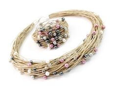 Linen set linen necklace linen bracelet norart bracelet with pearls linen jewelry natural necklace women's jewelry women's bracelet Boho Jewelry, Jewelry Crafts, Beaded Jewelry, Jewelry Necklaces, Fine Jewelry, Women Jewelry, Beaded Bracelets, Jewellery, Fabric Necklace