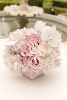 Low Blush Wedding Centerpiece ~ via White Lilac Inc.