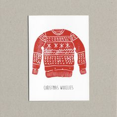 Christmas Woolies - Lino Print Card - Eco Friendly - Christmas Cards - Made in Ireland