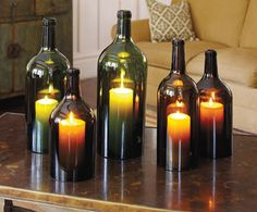 Wine Bottle Hurricane Lamps - Wine Bottle Crafts - 10 New Uses for Old Bottles - Bob Vila Use battery operated tea lights instead of candles. Do It Yourself Inspiration, Diy Inspiration, Diy Projects To Try, Craft Projects, Craft Ideas, Diy Ideas, Diy Lampe, Old Bottles, Diy With Wine Bottles