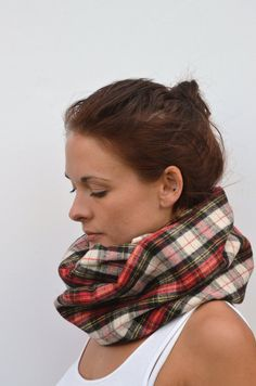 Tartan infinity scarf made from brushed cotton - this feels so cosy on and looks great with winter coats, and it wont itch! Good tartan for