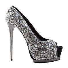 ROMI (4.990 BRL) ❤ liked on Polyvore featuring shoes, pumps, heels, sapatos, high heels, platform stilettos, high heels stilettos, sparkly pumps, party shoes and stiletto heel pumps